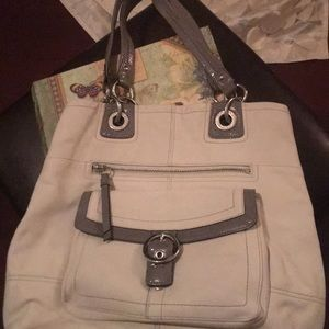 Coach white gray bag